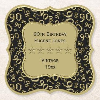 Dessous-de-verre En Papier quatre-vingt-dixième Noir de fête d'anniversaire