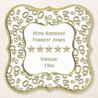 Dessous-de-verre En Papier quatre-vingtième Blanc de fête d'anniversaire et