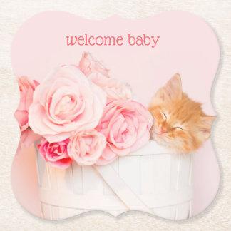 Dessous-de-verre En Papier Roses roses de chaton de sommeil