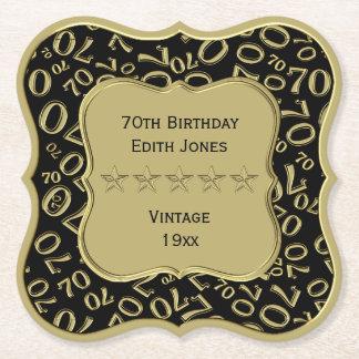 Dessous-de-verre En Papier soixante-dixième Noir de fête d'anniversaire et
