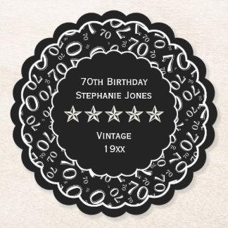 Dessous-de-verre En Papier soixante-dixième Thème noir/blanc de fête