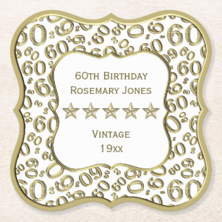 Dessous-de-verre En Papier soixantième Blanc de fête d'anniversaire et thème