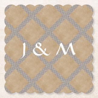 Dessous-de-verre En Papier Vaisselle jetable rustique de mariage de gris