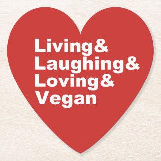 Dessous-de-verre En Papier Vie et rire et aimer et végétalien (blancs)