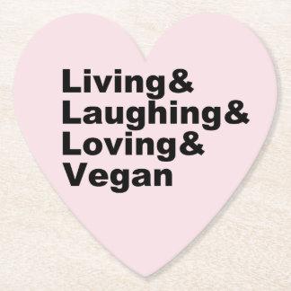 Dessous-de-verre En Papier Vie et rire et aimer et végétalien (noir)