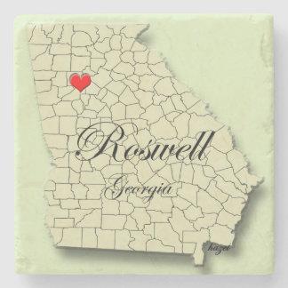 Dessous-de-verre En Pierre Amour Roswell la Géorgie, carte, dessous de verre
