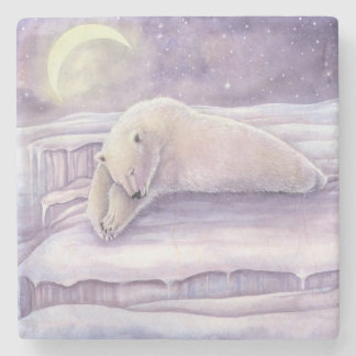 Dessous-de-verre En Pierre Art de lune de scène d'hiver d'ours blanc de