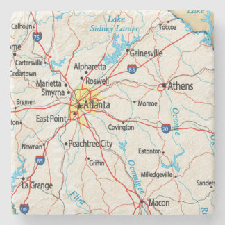 Dessous-de-verre En Pierre Atlanta, la Géorgie, carte, dessous de verre