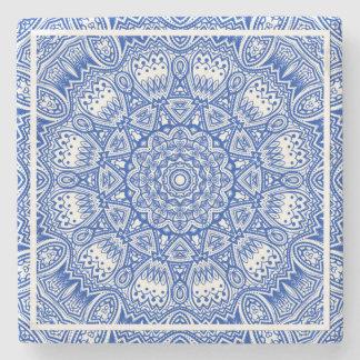 Dessous-de-verre En Pierre Beau motif bleu et blanc de tuile de mandala