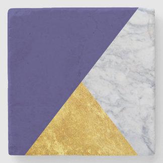 Dessous-de-verre En Pierre Bleu + Dessous de verre de marbre de pierre d'or
