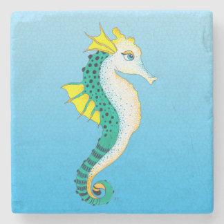 Dessous-de-verre En Pierre bleu turquoise d'hippocampe