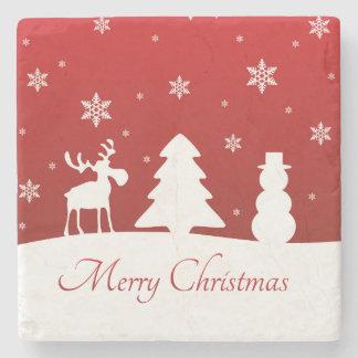 Dessous-de-verre En Pierre Bonhomme de neige de renne d'arbre de Noël -