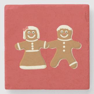 Dessous-de-verre En Pierre Bonhomme en pain d'épice et femme sur le rouge