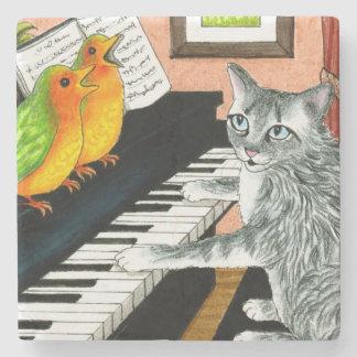 Dessous-de-verre En Pierre Cat 457 playing Piano Birds