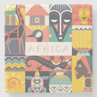 Dessous-de-verre En Pierre Collage symbolique africain d'art