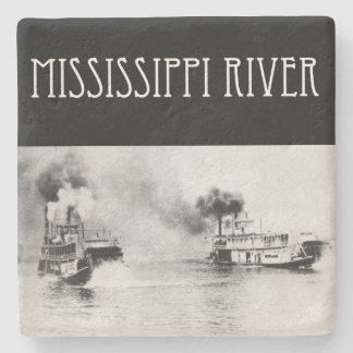 Dessous-de-verre En Pierre Course de bateau à vapeur sur le fleuve