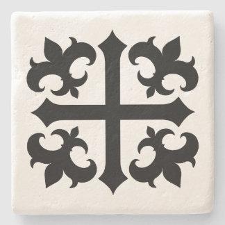 Dessous-de-verre En Pierre Croix et symboles médiévaux de fleur de lis