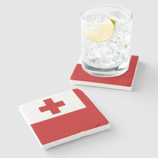 Dessous-de-verre En Pierre Croix-Rouge de drapeau d'île du Tonga