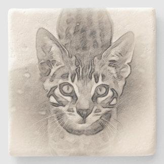 Dessous-de-verre En Pierre Dessin de chaton du Bengale