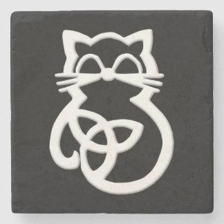 Dessous-de-verre En Pierre Dessous de verre celtiques de chat de noeud blanc