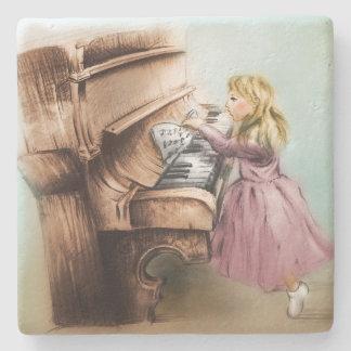 Dessous-de-verre En Pierre Dessous de verre de pierre de fille de piano, art