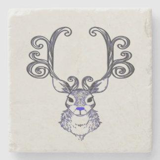 Dessous-de-verre En Pierre Dessous de verre mignons de renne bleu de nez de
