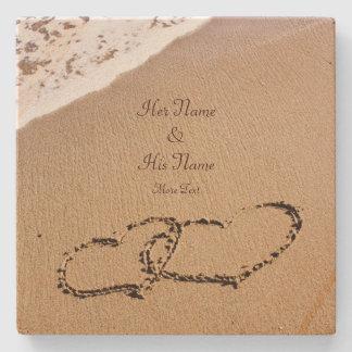 Dessous-de-verre En Pierre Deux coeurs dans le sable