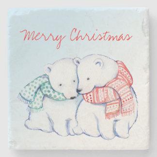 Dessous-de-verre En Pierre Deux dessous de verre de Joyeux Noël d'ours blancs