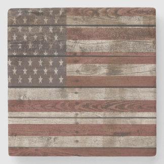 Dessous-de-verre En Pierre Drapeau américain en bois