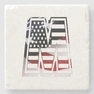 Dessous-de-verre En Pierre Drapeau patriotique des Etats-Unis d'initiale de