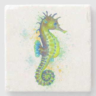 Dessous-de-verre En Pierre Éclaboussure d'hippocampe de vert jaune
