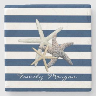 Dessous-de-verre En Pierre Étoiles de mer adorables, bleu marine