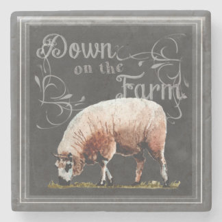 Dessous-de-verre En Pierre Ferme   de tableau vers le bas sur les moutons de