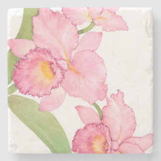 Dessous-de-verre En Pierre Fleurs exotiques roses d'aquarelle