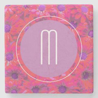 Dessous-de-verre En Pierre Fleurs tropicales roses, pourpres, oranges