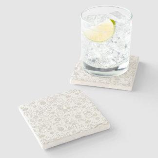 Dessous-de-verre En Pierre Floral doucement beige et blanc