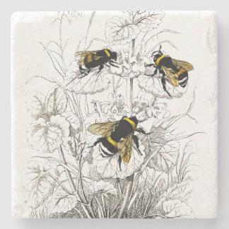 Dessous-de-verre En Pierre Gaffez les abeilles sur des fleurs