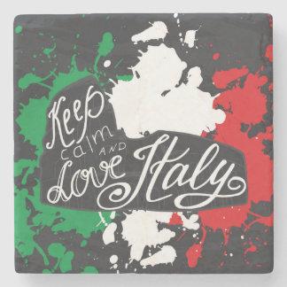 Dessous-de-verre En Pierre Gardez le calme et aimez l'Italie