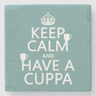 Dessous-de-verre En Pierre Gardez le calme et ayez une tasse de thé - toutes