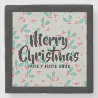 Dessous-de-verre En Pierre Houx de Noël de typographie de Joyeux Noël