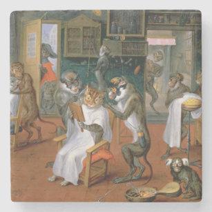 Dessous-de-verre En Pierre Le magasin de coiffeur avec des singes et des