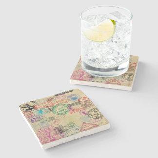 Dessous-de-verre En Pierre Le passeport vintage emboutit les dessous de verre