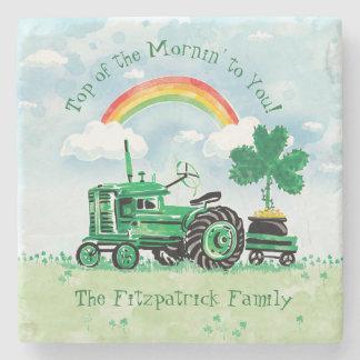 Dessous-de-verre En Pierre Le shamrock vert vintage de tracteur ajoutent le