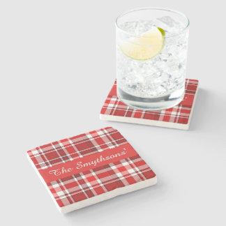 Dessous-de-verre En Pierre Le tartan blanc rouge | de plaid ajoutent votre