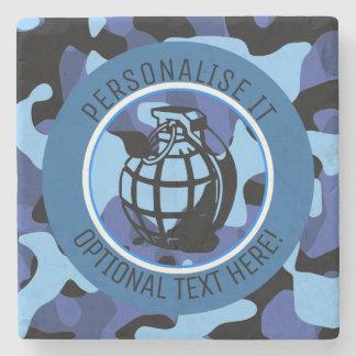 Dessous-de-verre En Pierre Les militaires bleus camouflent avec la grenade