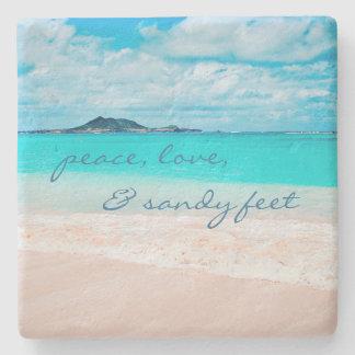 """Dessous-de-verre En Pierre Les """"pieds de Sandy"""" citent la photo d'océan bleu"""