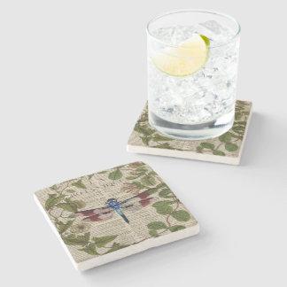 Dessous-de-verre En Pierre libellule vintage moderne de feuille botanique