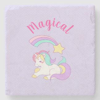 Dessous-de-verre En Pierre Licorne magique avec l'étoile filante