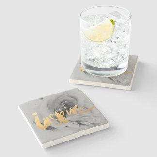 Dessous-de-verre En Pierre Marbre support or gris