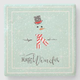 Dessous-de-verre En Pierre Menthe ID440 de bonhomme de neige de Noël de magie